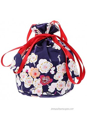 NUOBESTY Japanese Drawstring Bag Kimono Purse Pouch Cherry Blossom Sakura Bag Floral Embroidered Jewelry Bag Coin Purse Gift Bag Dark