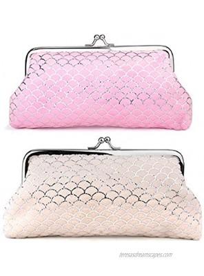 Oyachic 2PCS Coin Purse Pouch Buckle Clasp Change Purses Cosmetic Bag Wallets