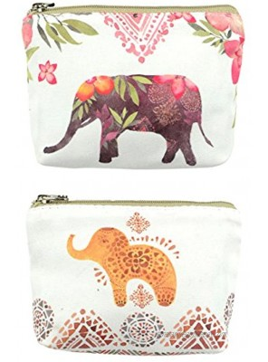 POPUCT Women's Canvas Mini Card Hold Coin Purse with Zipelephant 2 pack