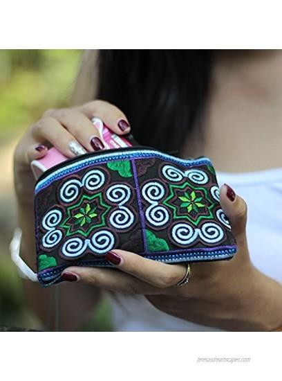 Sabai Jai Handmade Coin Purse Small Embroidered Boho Change Purse Pouch