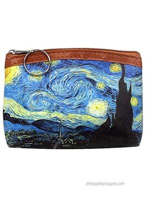 Small Coin Change Purse Pouch Van Gogh Art Coin Bag Zipper Wallet Gifts for Women Girls