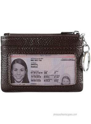 Women Genuine Leather Keychain Zipper Change Wallet Small Mini Pocket Size Coin Purse
