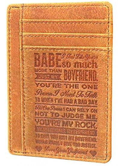 Ablibi Slim Minimalist Front Pocket RFID Blocking Leather Credit Card Holder Wallets for Boyfriend,Mens Gifts