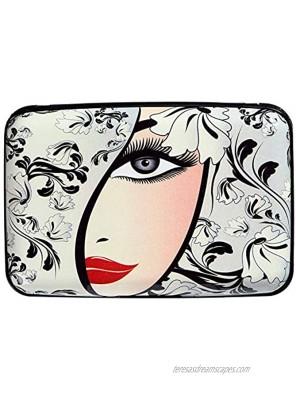 Aluminum Wallet RFID Blocking Slim Metal Business ID Credit Card Holder Hard Case Beautiful Girl on Floral