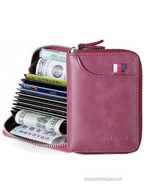 BISON DENIM Credit Card Holder Leather Card Case Zipper Card Organizer Small Credit Card Wallet for Women Men,RFID Blocking Accordion Style