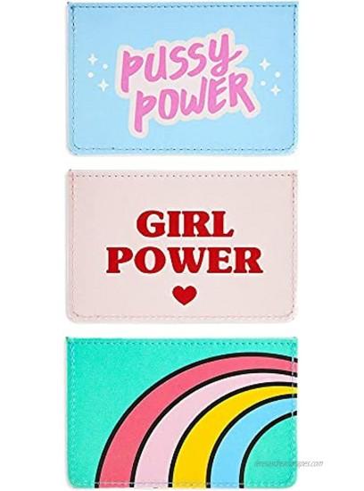 Card Holders for Women Girl Power 4.25 x 2.8 in 3 Pack