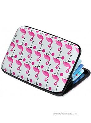 Credit Card Holder Aluminum Wallet RFID Blocking Slim Metal Hard Case Pink Flamingos