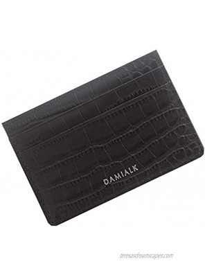 [DAMIALK] Croco Embossed Genuine Cow Leather Slim Leather Card Case Minimalist Credit Card Holder for Men and Women