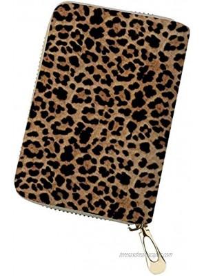 GOSTONG Leopard Print Credit Card Wallet Holder Bag Zipper ID Card Travel Wallet PU Leather for Women Ladies Girls Men