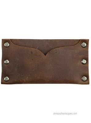 Hide & Drink Leather Riveted Card Holder Holds Up to 3 Cards Cash Organizer Accessories Handmade Includes 101 Year Warranty :: Bourbon Brown