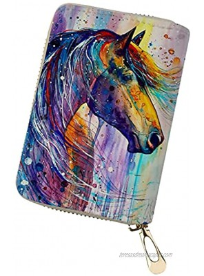 Horeset Colorful Watercolor Horse Print RFID Credit Card Holder Women's PU Leather Credit Card Wallet with Zipper