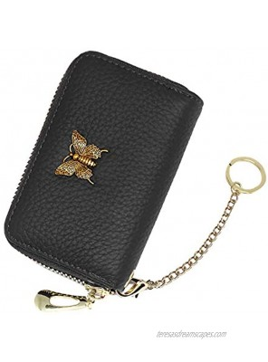 imeetu RFID Leather Credit Card Wallet for Women Small Zipper Card Case Holder with Removable KeychainBlack