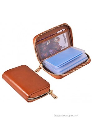 Leather Credit Card Holder and Organizer Zippered Credit Card Wallet RFID Blocking Credit Card Protector with 21 Card Slots