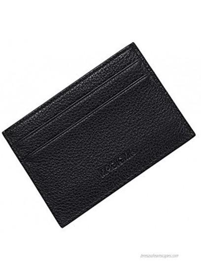 MAGICMK Minimalist Slim Card Holder Leather Credit Card Wallet for Men Black-Double Slot