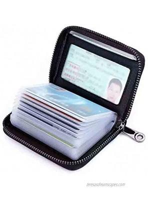 Men Credit Card Holder Zipper Wallet RFID Genuine Leather Small ID Card Case Womens(Black)