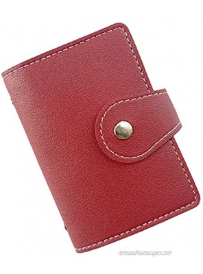 Sanzeon Credit Card Holder Wallet PU Leather Business Card Organizer with 26 Card Slots Debit Card Protector Organizer Case Red