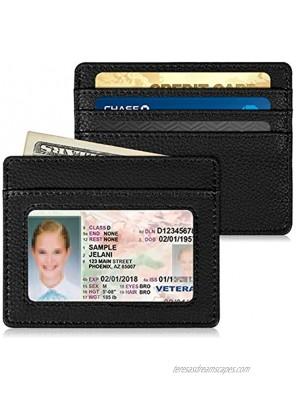 Slim Minimalist Front Pocket Wallet Fintie RFID Blocking Credit Card Holder Card Cases with ID Window for Men Women Black