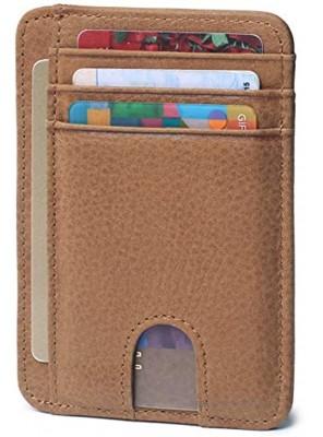 Slim Minimalist Wallet Front Pocket RFID Blocking Leather Credit Card Holder for Men Women
