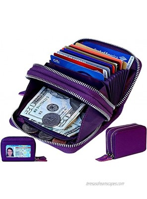 TraderPlus Women's RFID Blocking Leather Zipper Card Wallet Small Purse Credit Card Case Holder for Mother Day Gift Purple