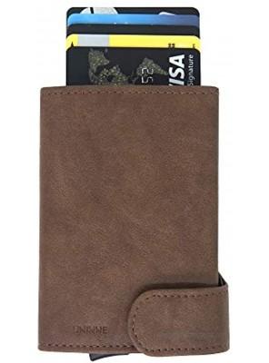UNINNE Security Wallet RFID Blocking Pop up Credit Card Holder Premium Leather Security Pocket Wallet Men