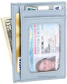 Womens Slim RFID Blocking Credit Card Holder Minimalist Leather Front Pocket Wallet Blue