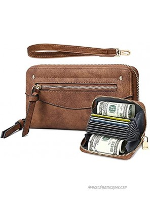 Wristlet Wallets for Women 2PCS Set RFID Blocking with Card Holder Purse Leather Zip Around