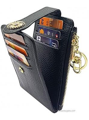 Yuhan Pretty RFID Credit Card Holder Wallets for Women Small Zipper Bifold Card Case Keychain Lichee Black