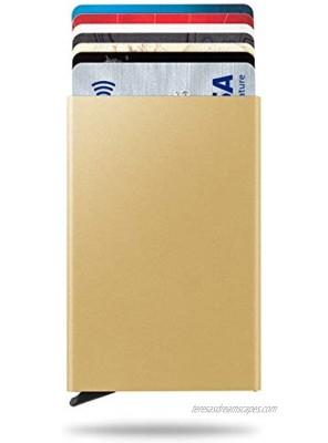 Blue-Technology Credit Card Holder Slim Wallet Front Pocket Card Protector Pop up Design Aluminum Up to Hold 7 Cards Gold