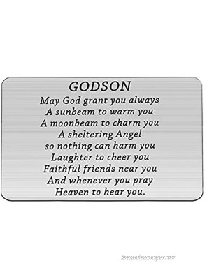 BNQL Godson Gifts Godson Wallet Card Gifts from Godparents Godson Graduation Gifts May God Grant You Always a Sunbeam to Warm You