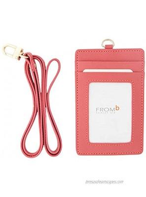 Genuine Leather Credit Card Holder Necklace Neckholder Business Id Badge Neck Strap