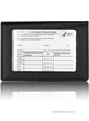 PU Leather Vaccine Card Case Protector with Transparent Clear Window CDC Vaccination Card Protector 4 X 3 Inches Immunization Record Vaccine Cards Holder