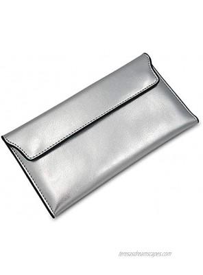 Sinianer Designer Long Wallet for Women Retro Fashion Clutch Blocking PU Leather Card Holder Organizer with Zipper silver