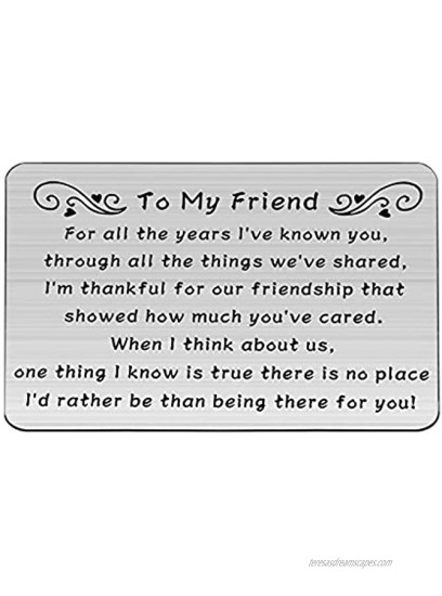 WSNANG To My Friend Gifts Engraved Metal Wallet Insert Card BFF Friend Jewelry Long Distance Friendship Gift Birthday Gifts