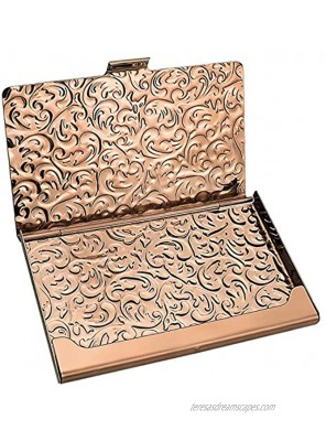 YOBANSA Stainless Steel Rose Gold Business Card Holder Credit Card Holder Name Card Holder Business Card Case for Men and Women Rose Gold 02