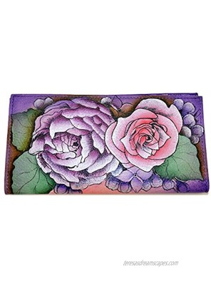 Anuschka Hand Painted Genuine Leather Check Book Cover ID Wallet Lush Lilac