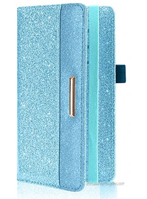 Caweet Leather Checkbook Cover for Men & Women Checkbook Wallet for Duplicate Checks Checkbook Holder with Elastic Band Glitter Blue