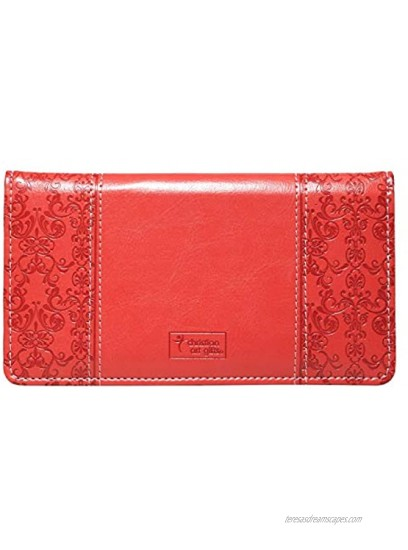 """Checkbook Cover for Women & Men """"Amazing Grace"""" Christian Coral Wallet Faux Leather Christian Checkbook Cover for Duplicate Checks & Credit Cards"""
