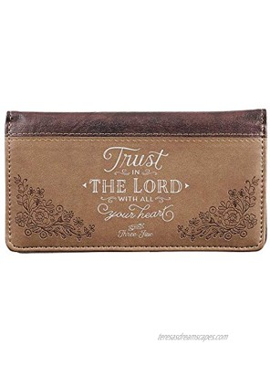 Checkbook Cover for Women & Men Trust in The Lord Christian Brown Wallet Faux Leather Christian Checkbook Cover for Duplicate Checks & Credit Cards Proverbs 3:5-6