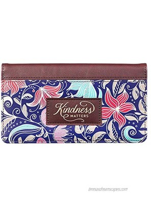 Checkbook Cover for Women Kindness Matters Floral Wallet Faux Leather Inspirational Checkbook Cover for Duplicate Checks & Credit Cards