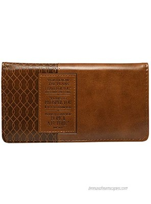 Christian Art Gifts Jeremiah 29 11 Two-tone Checkbook Cover ,Brown ,One Size