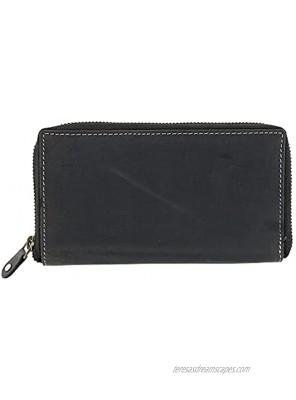 CTM Hunter Leather RFID Zip-Around Checkbook Cover