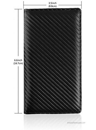 Leather Checkbook Cover with Pen Holder and Built-in Divider Basic Checkbook Holder Case for Men&Women Weaved Black