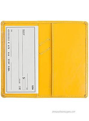 Leather Checkbook Cover with Pen Holder and Built-in Divider Basic Checkbook Holder Case for Men&Women Yellow Ballon