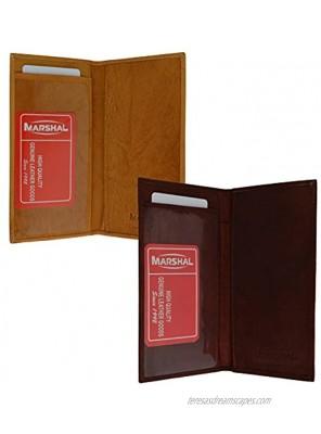 Marshal Checkbook Covers Set of 2 Genuine Leather Burgundy-Tan