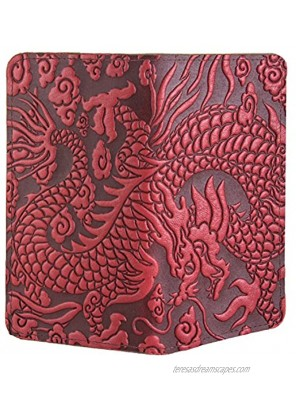 Oberon Design Cloud Dragon Embossed Genuine Leather Checkbook Cover 3.5x6.5 Inches Red Made in the USA