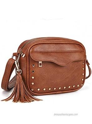 Small Crossbody Purses for Women Boho Shoulder Bag and Retro Handbags with Tassel,Soft PU Leather