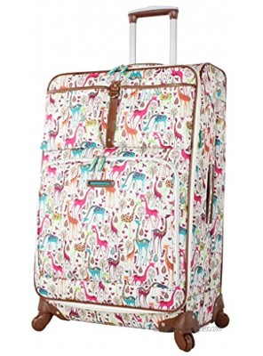 """Lily Bloom Giraffe Park Luggage 24"""" Expandable Design Pattern Suitcase With Spinner Wheels For Woman 24in Multicolored"""