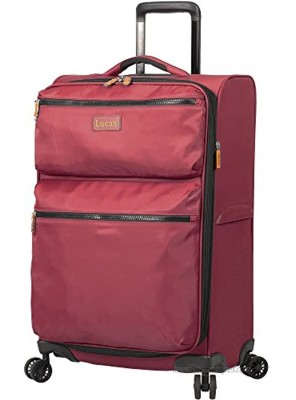 Lucas Designer Luggage Collection Expandable 24 Inch Softside Bag Durable Mid-sized Ultra Lightweight Checked Suitcase with 8-Rolling Spinner Wheels Red