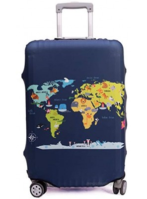 Madfifennina Washable Spandex Travel Luggage Protector Baggage Suitcase Cover Fit 23-32 Inch Xl29-32 luggage Map