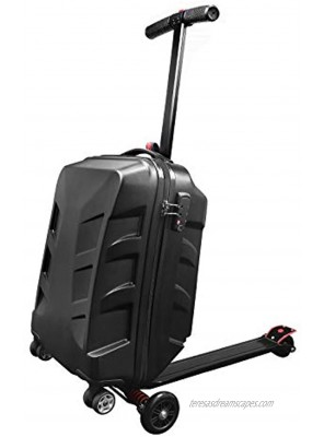 """Snowtaros 21"""" Foldable Luggage Scooter Suitcase Scooter Skateboard Rolling Luggage for Adults TSA Lock Suitable for Airport Travel Business School US StockBlack"""